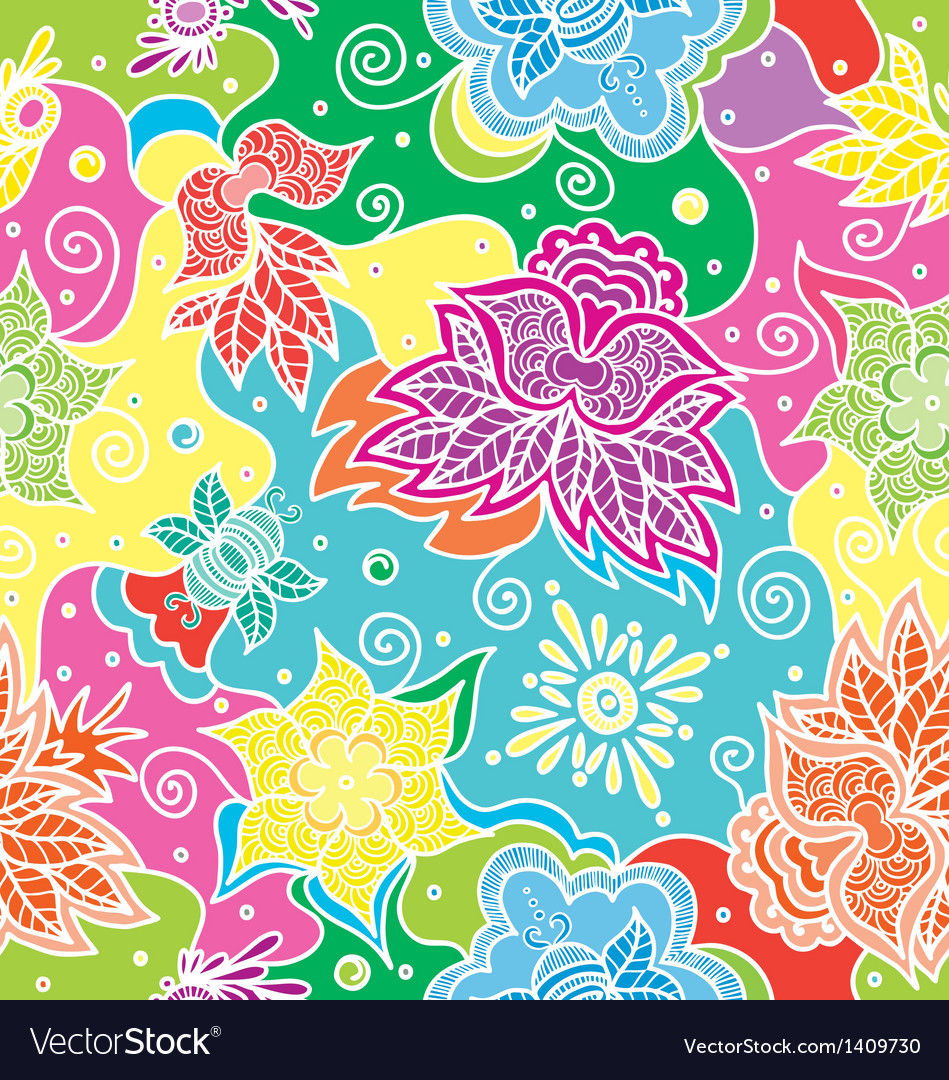Bright color floral seamless vector | Price: 1 Credit (USD $1)