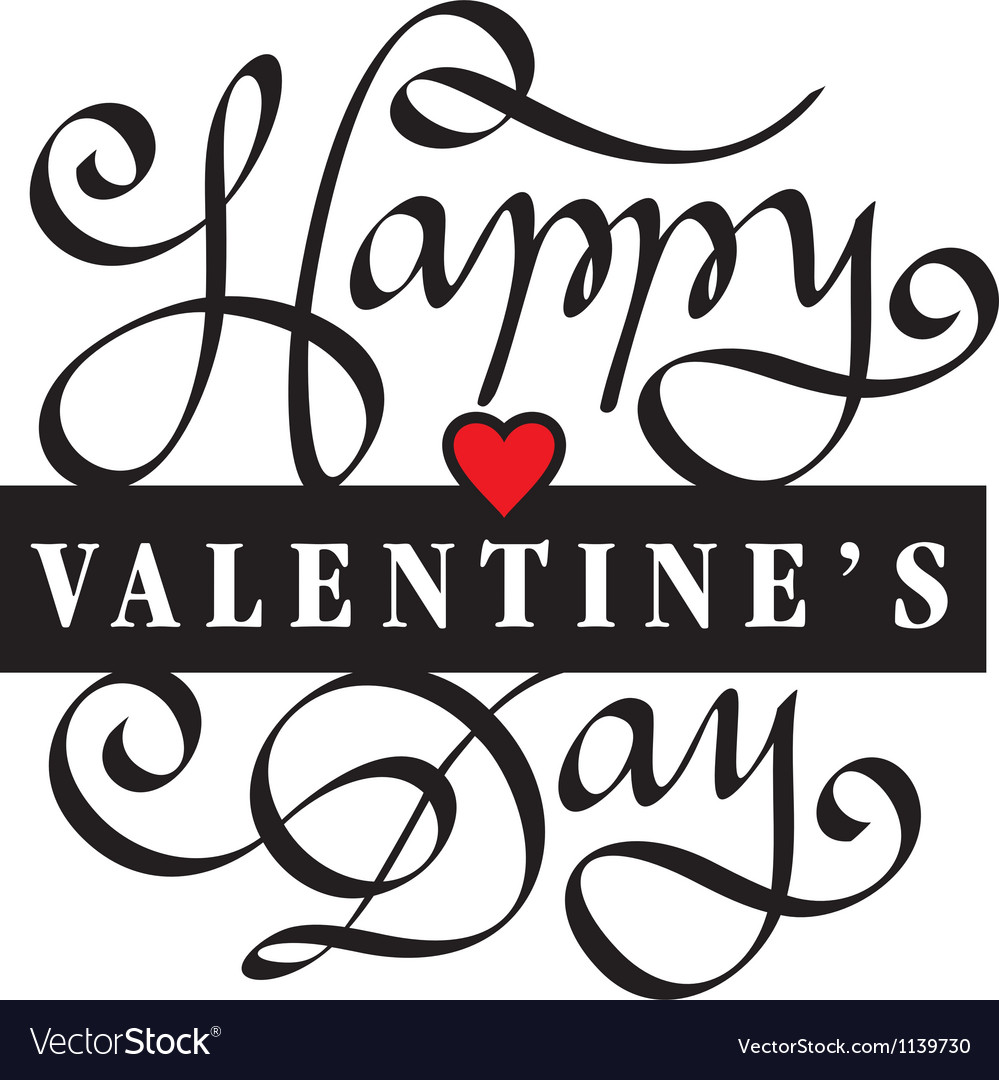 Happy valentine day hand lettering vector | Price: 1 Credit (USD $1)