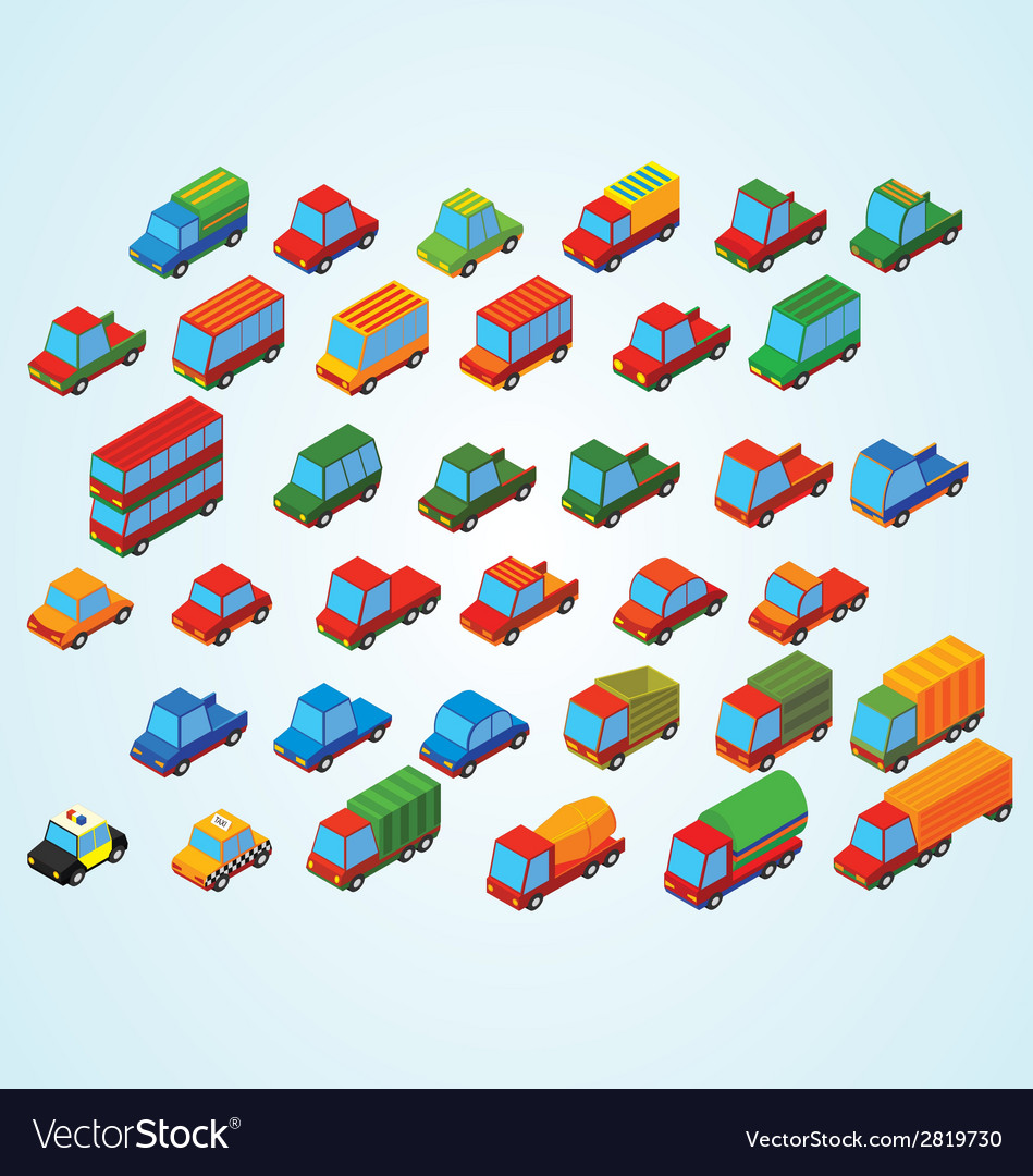Isometric premium cars vector | Price: 1 Credit (USD $1)