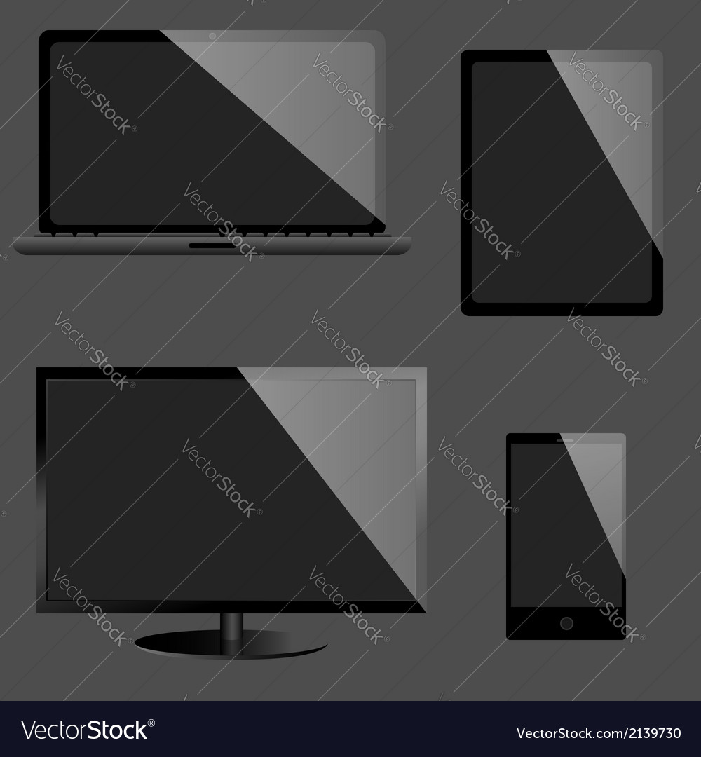 Monitor laptop tablet computer and mobile phone vector | Price: 1 Credit (USD $1)
