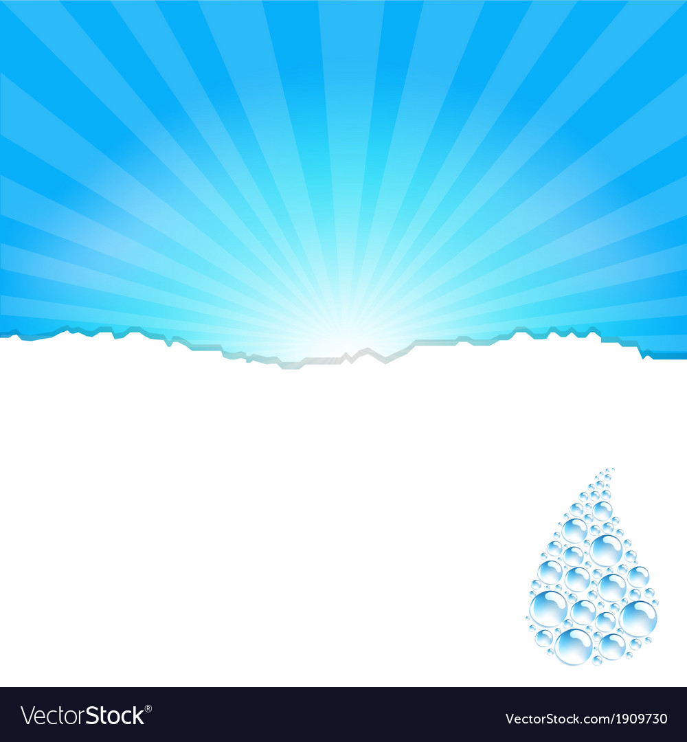 Sanburst background with water drop vector | Price: 1 Credit (USD $1)