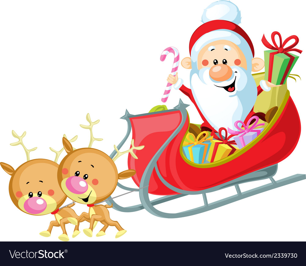 Santa sleigh and reindeer isolated on white vector | Price: 1 Credit (USD $1)
