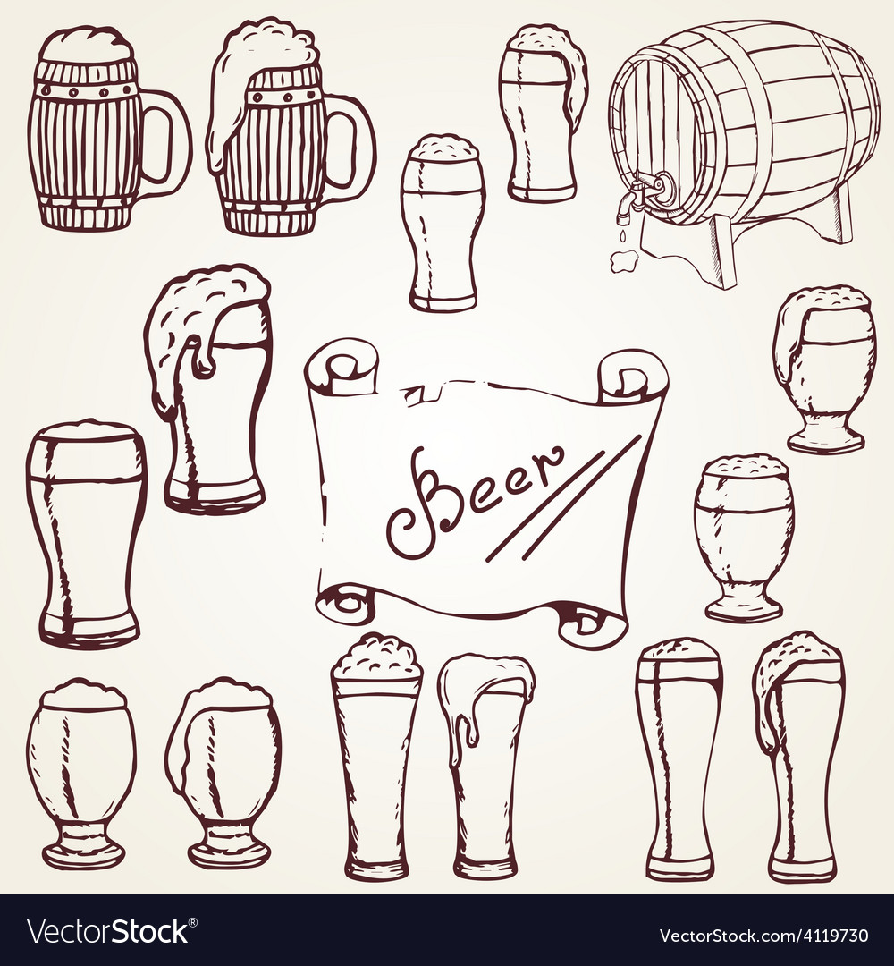 Set sketches of beer vector