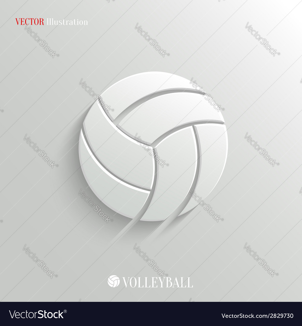 Volleyball icon - white app button vector | Price: 1 Credit (USD $1)
