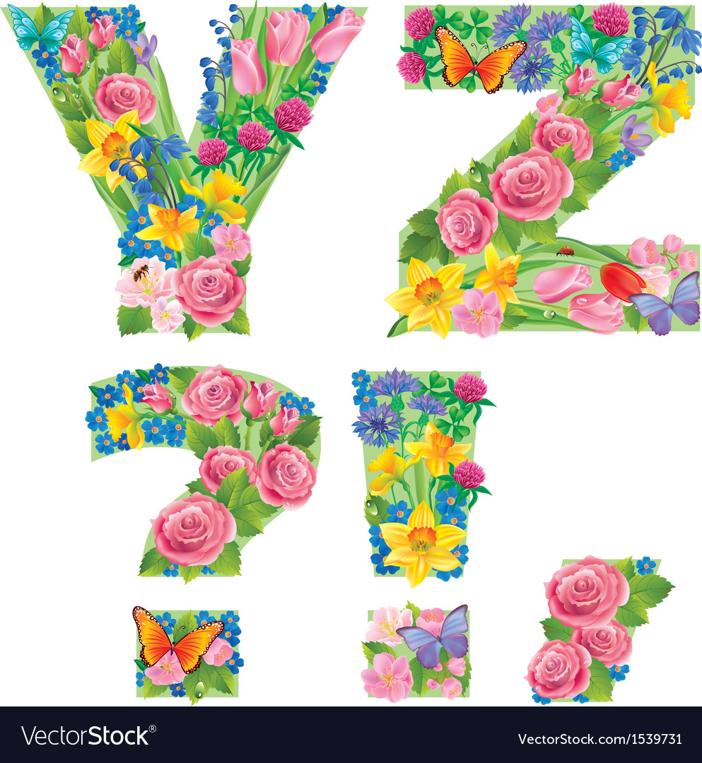 Alphabet of flowers yz vector | Price: 3 Credit (USD $3)