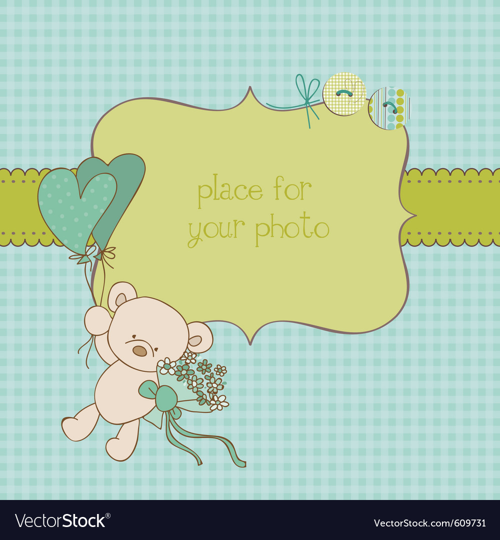 Baby greeting card with photo frame and place for vector | Price: 1 Credit (USD $1)