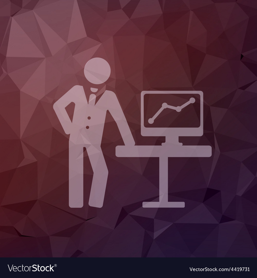 Businessman explaining graphic in flat style icon vector | Price: 1 Credit (USD $1)