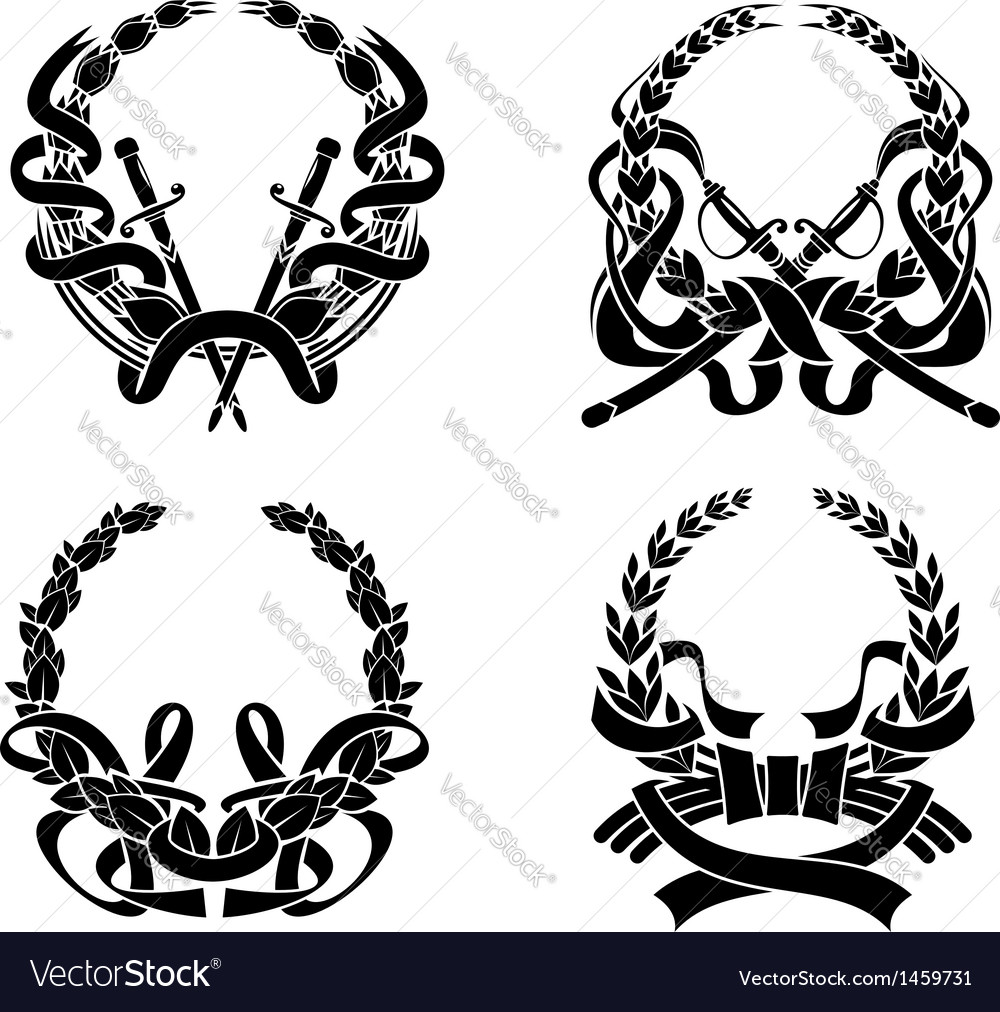 Coats of arms with swords and ribbons vector | Price: 1 Credit (USD $1)
