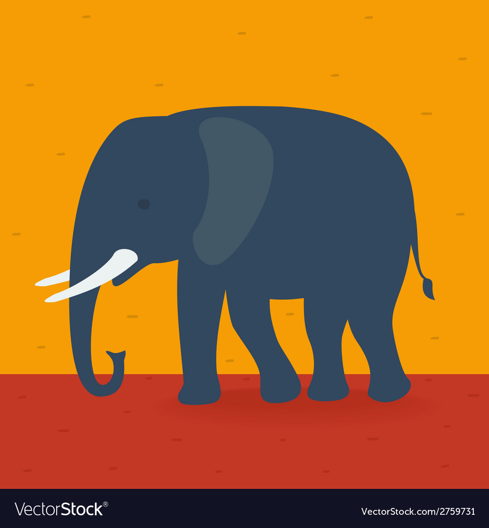 Elephant walking in the field vector | Price: 1 Credit (USD $1)