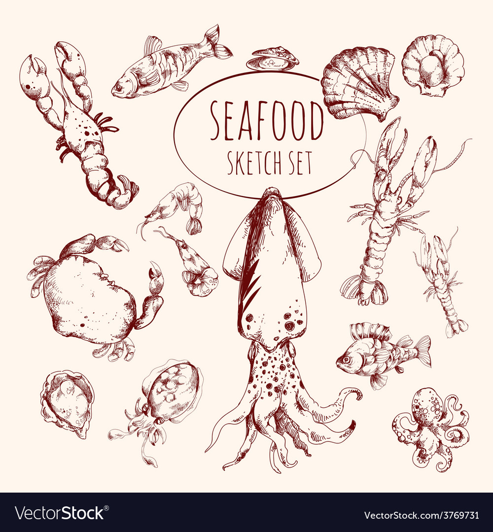 Seafood sketch set vector | Price: 1 Credit (USD $1)