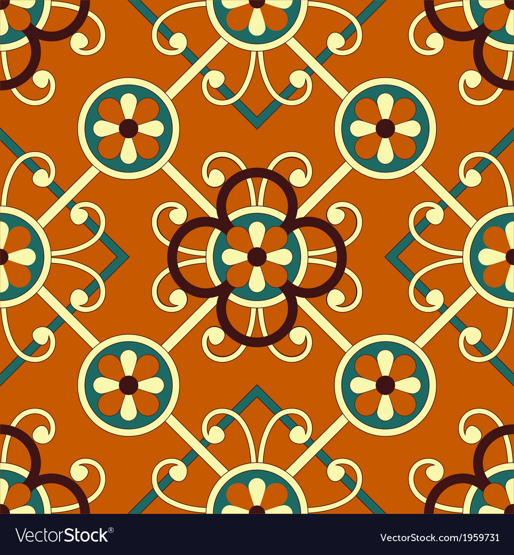 Seamless geometric floral pattern vector | Price: 1 Credit (USD $1)