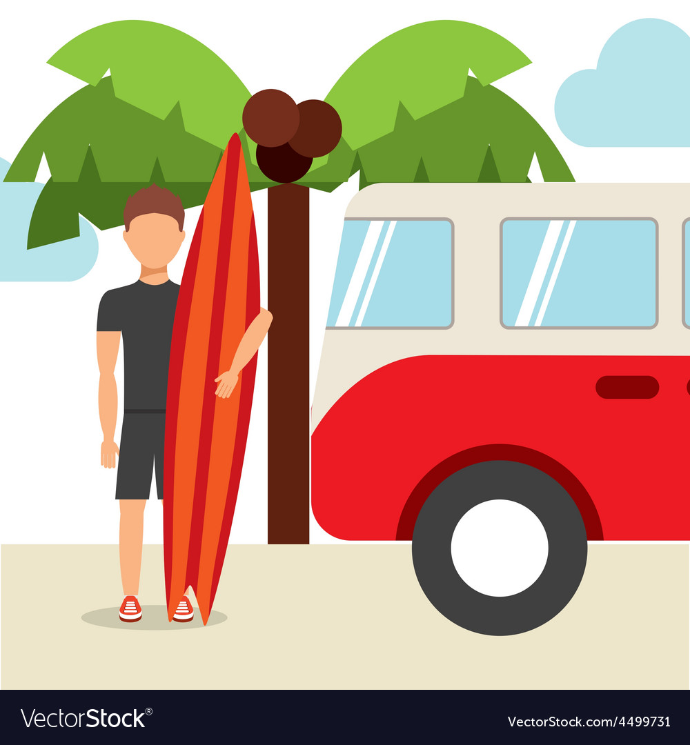 Surfing hawaii vector | Price: 1 Credit (USD $1)