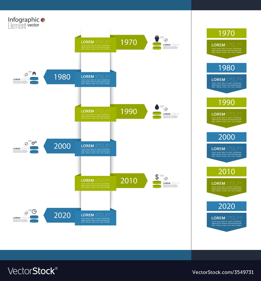 Timeline infographic with arrows and pointers vector | Price: 1 Credit (USD $1)