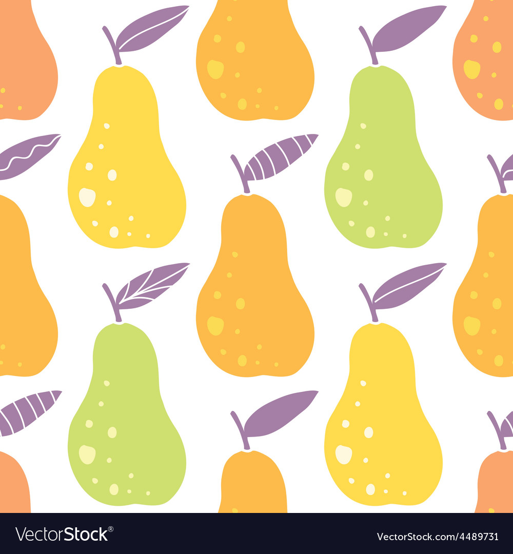 Yummy pears seamless pattern background vector | Price: 1 Credit (USD $1)