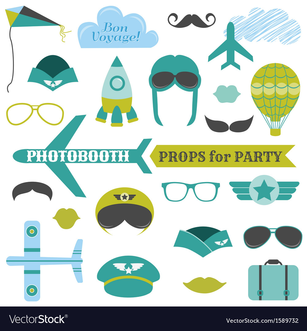 Airplane party set  photobooth props vector