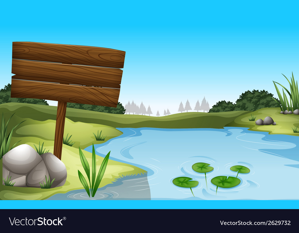 An empty signboard near the pond vector | Price: 1 Credit (USD $1)