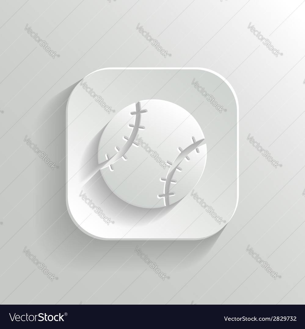 Baseball icon - white app button vector | Price: 1 Credit (USD $1)