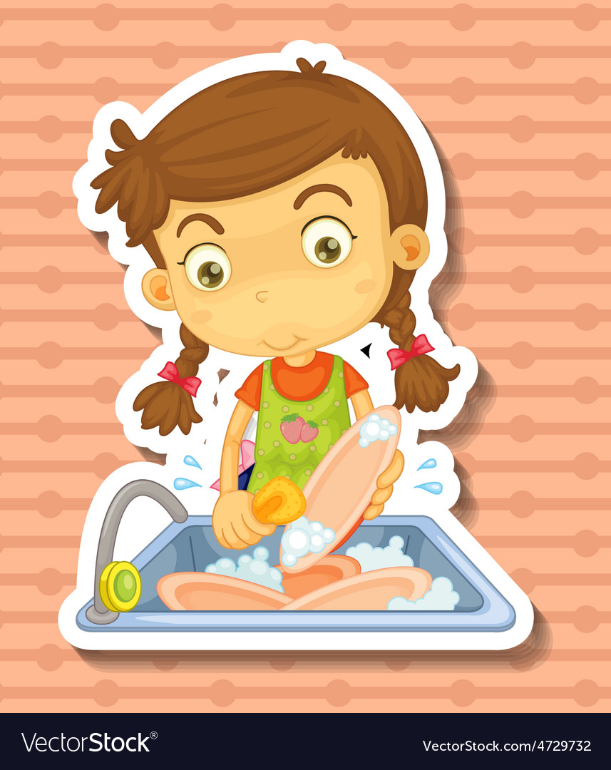 Doing dishes vector | Price: 1 Credit (USD $1)