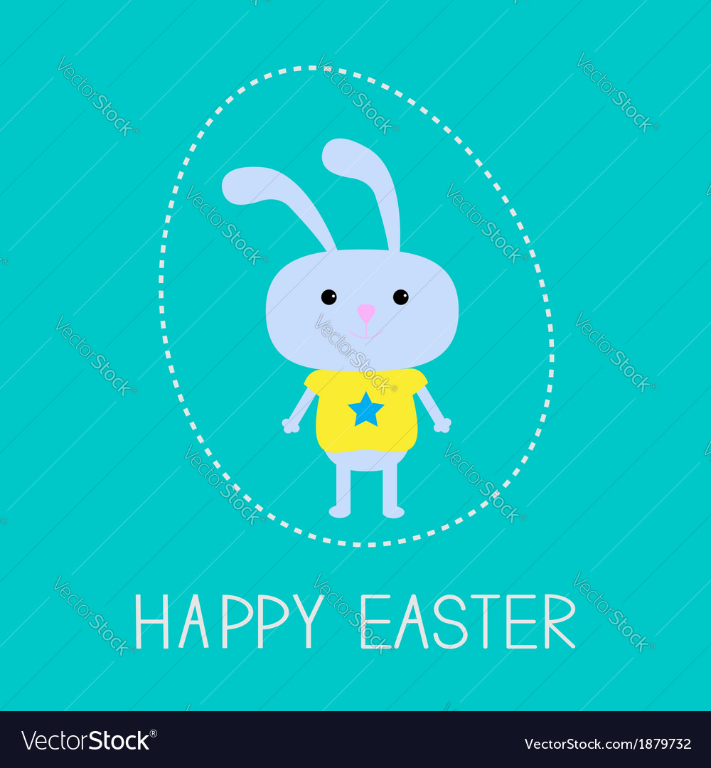 Easter bunny in the dash egg card vector | Price: 1 Credit (USD $1)