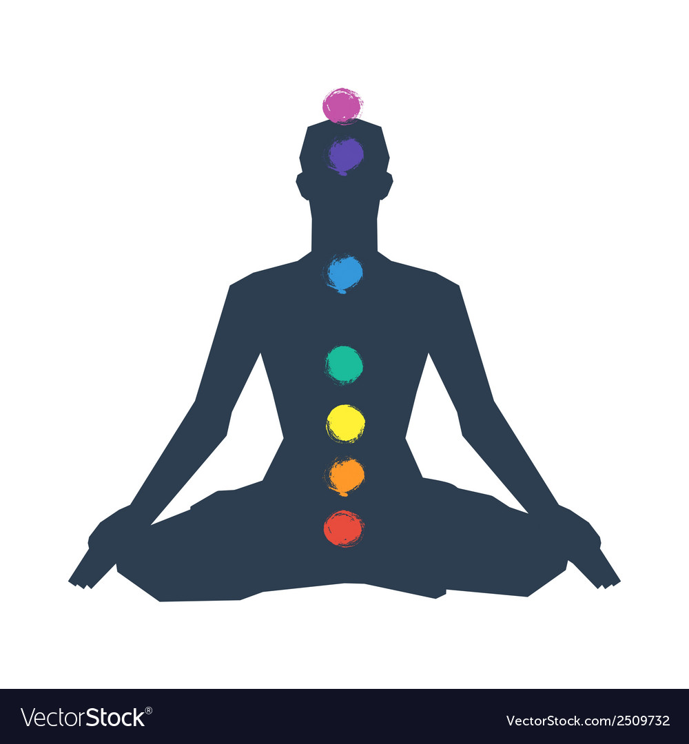 Human silhouette in yoga pose with chakras vector | Price: 1 Credit (USD $1)