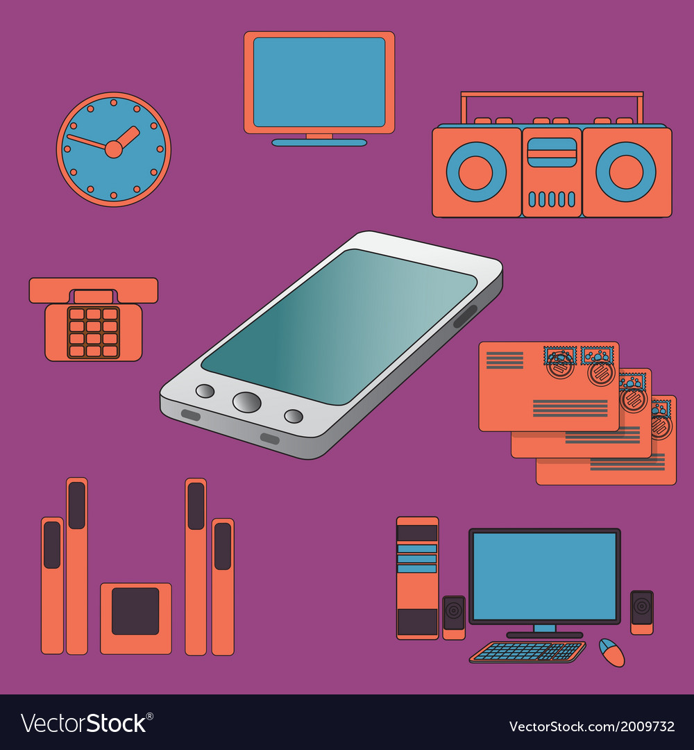 Many functions carries a modern mobile phone vector   Price: 1 Credit (USD $1)