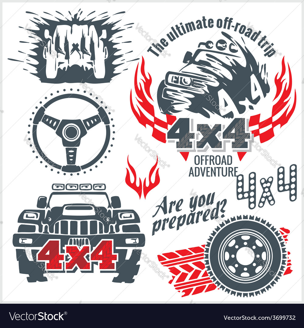 Off-road elements and emblem - set vector | Price: 1 Credit (USD $1)