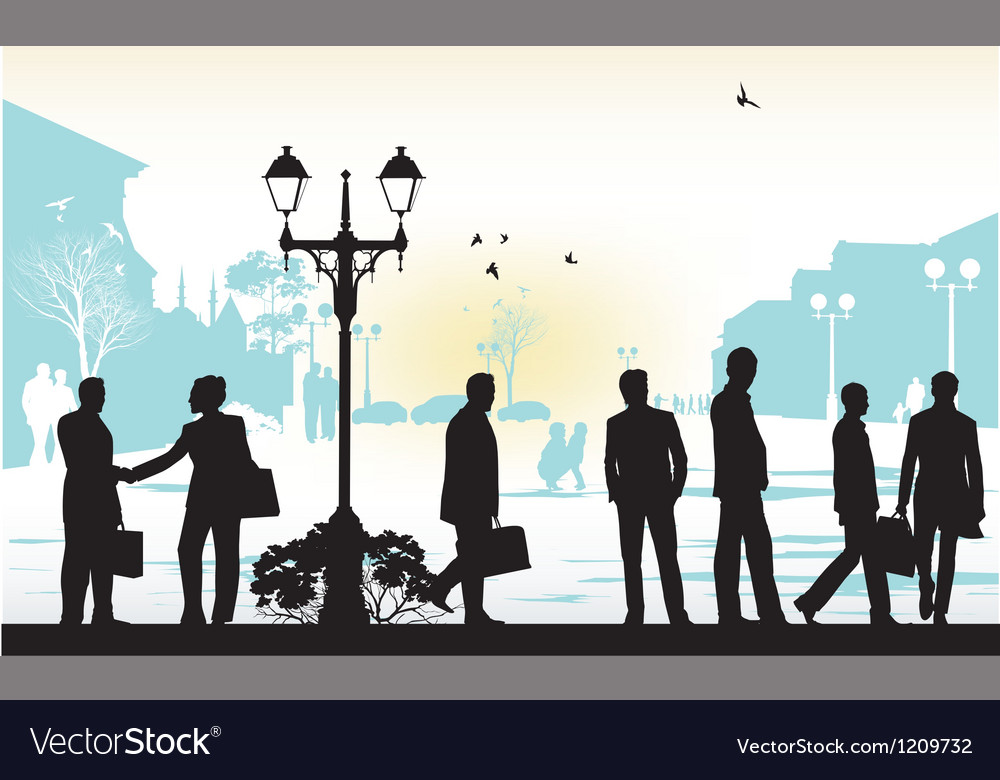 People silhouettes in blue background vector | Price: 1 Credit (USD $1)