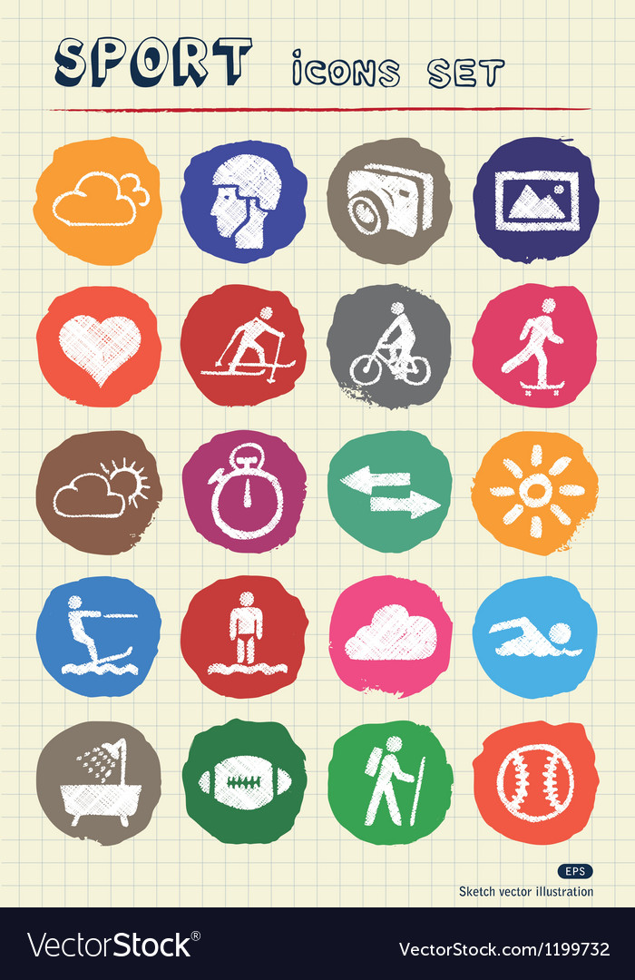 Sport web icons set drawn by chalk vector | Price: 1 Credit (USD $1)