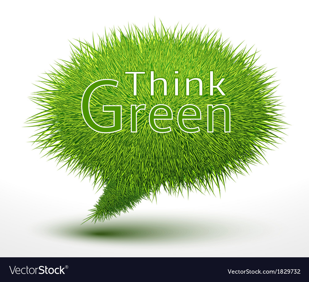 Think green concept on grass vector | Price: 1 Credit (USD $1)