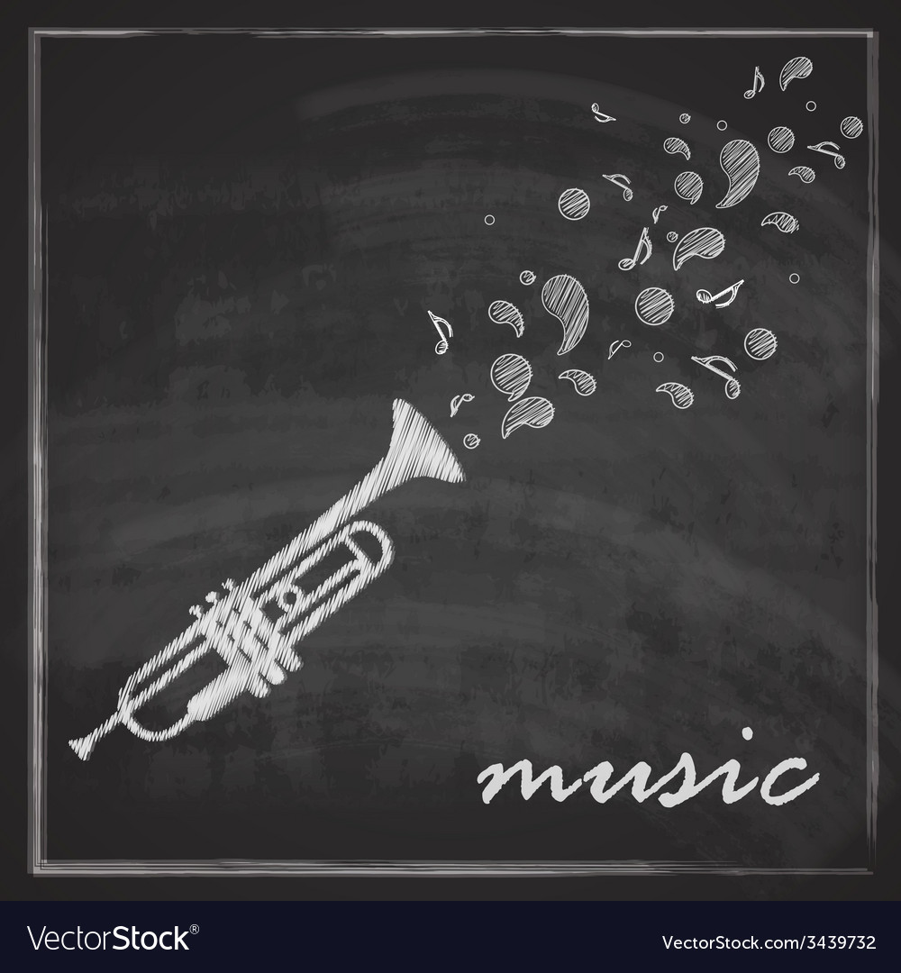 Vintage with trumpet on blackboard background vector   Price: 1 Credit (USD $1)