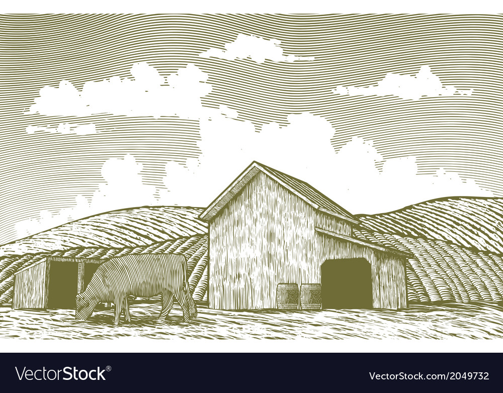Woodcut barn yard vector | Price: 1 Credit (USD $1)