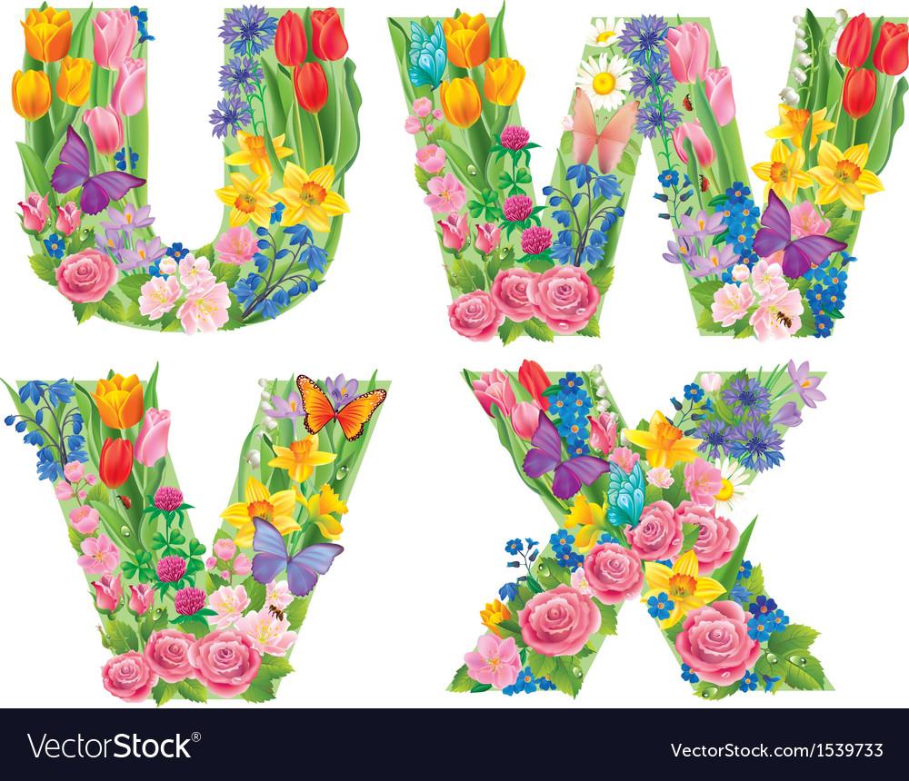 Alphabet of flowers wvux vector   Price: 3 Credit (USD $3)