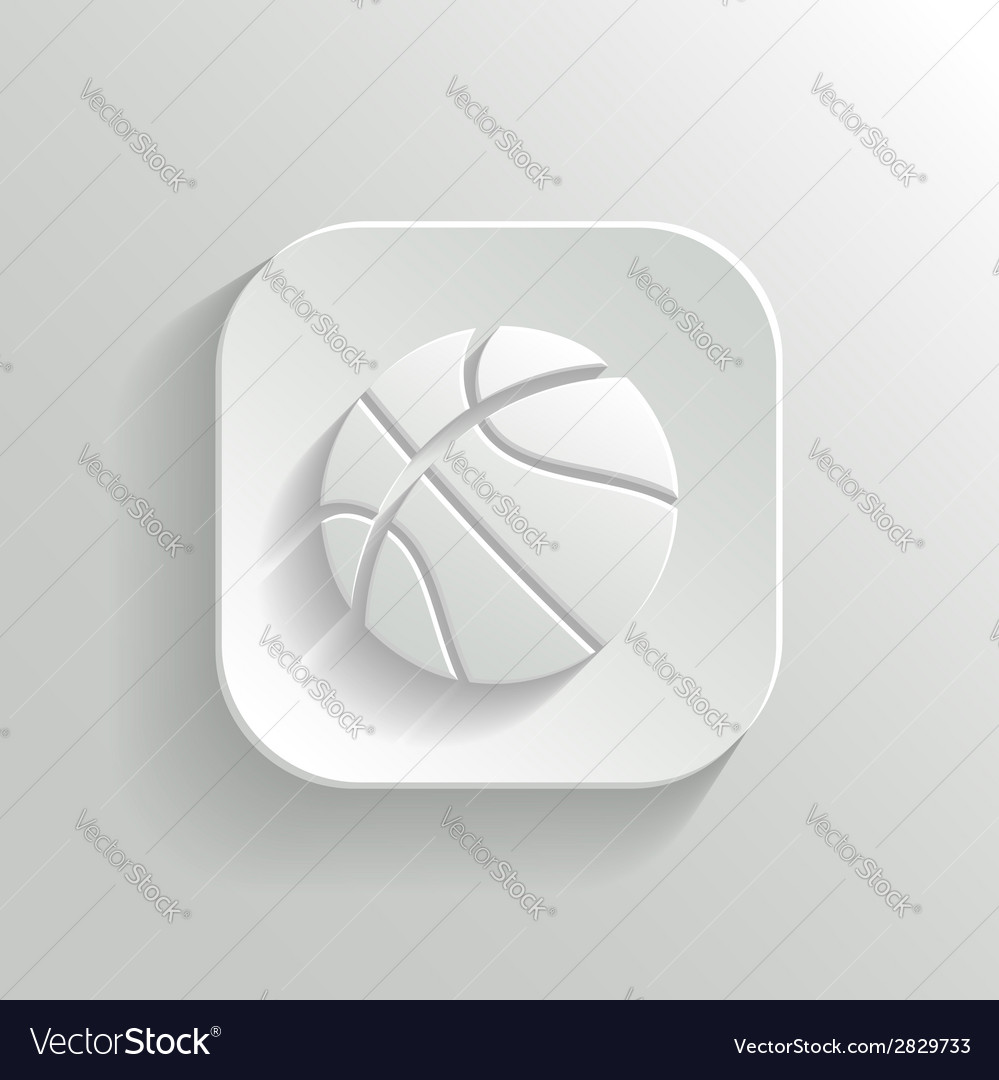 Basketball icon - white app button vector | Price: 1 Credit (USD $1)