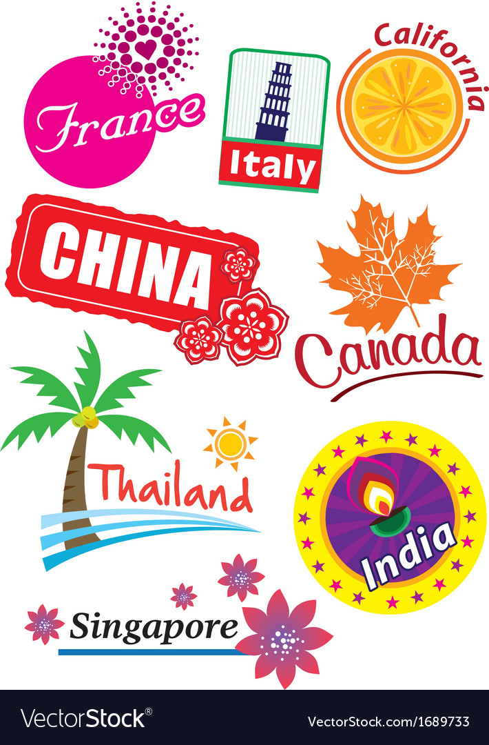 Country stickers vector   Price: 1 Credit (USD $1)