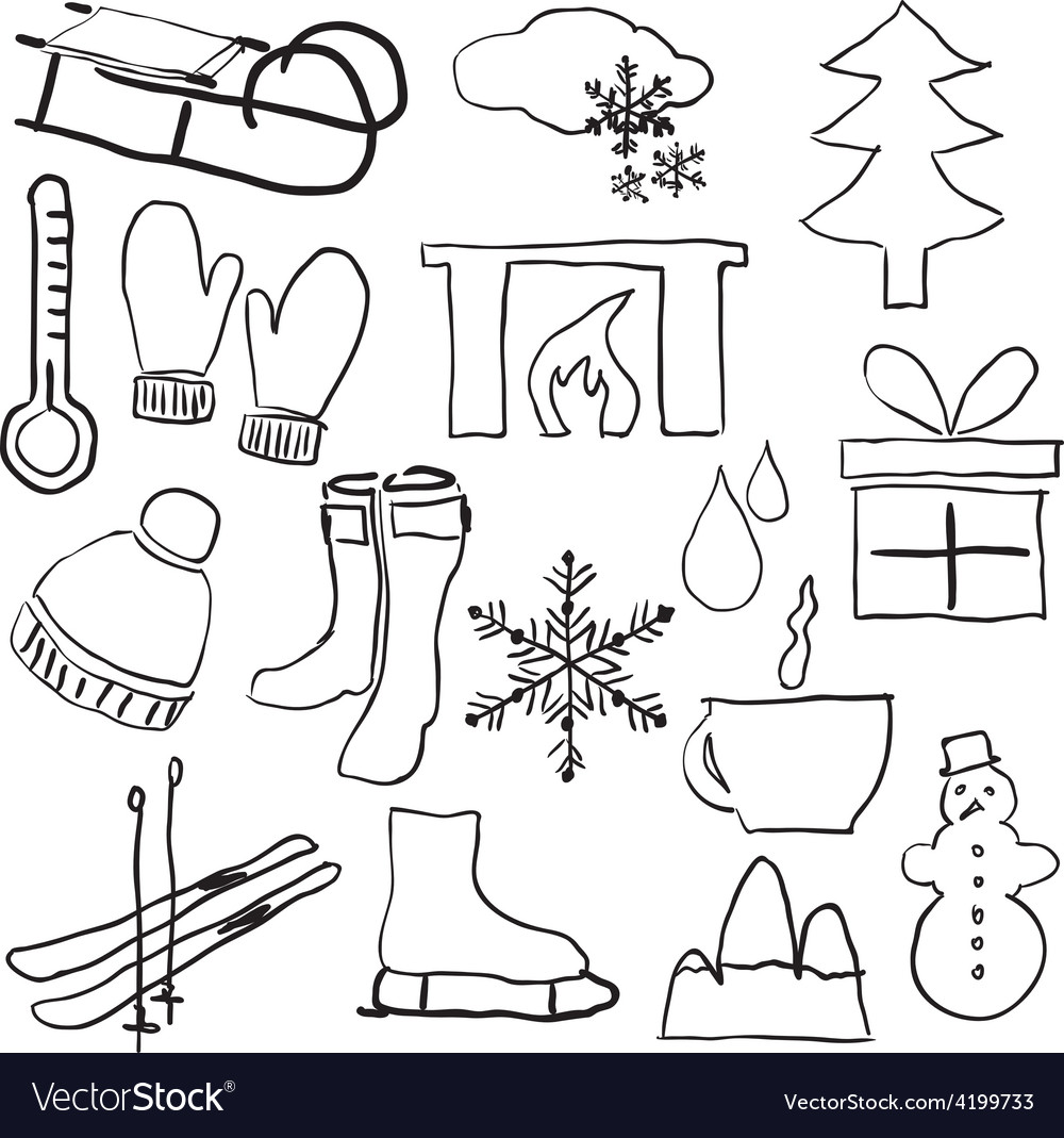 Doodle winter pictures vector | Price: 1 Credit (USD $1)