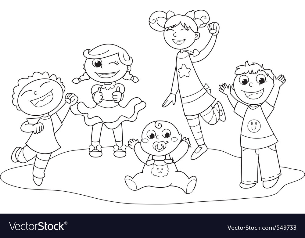 Five happy children vector | Price: 1 Credit (USD $1)