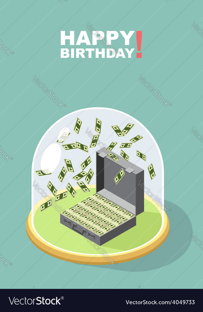 Happy birthday falling money case of money wealth vector | Price: 1 Credit (USD $1)