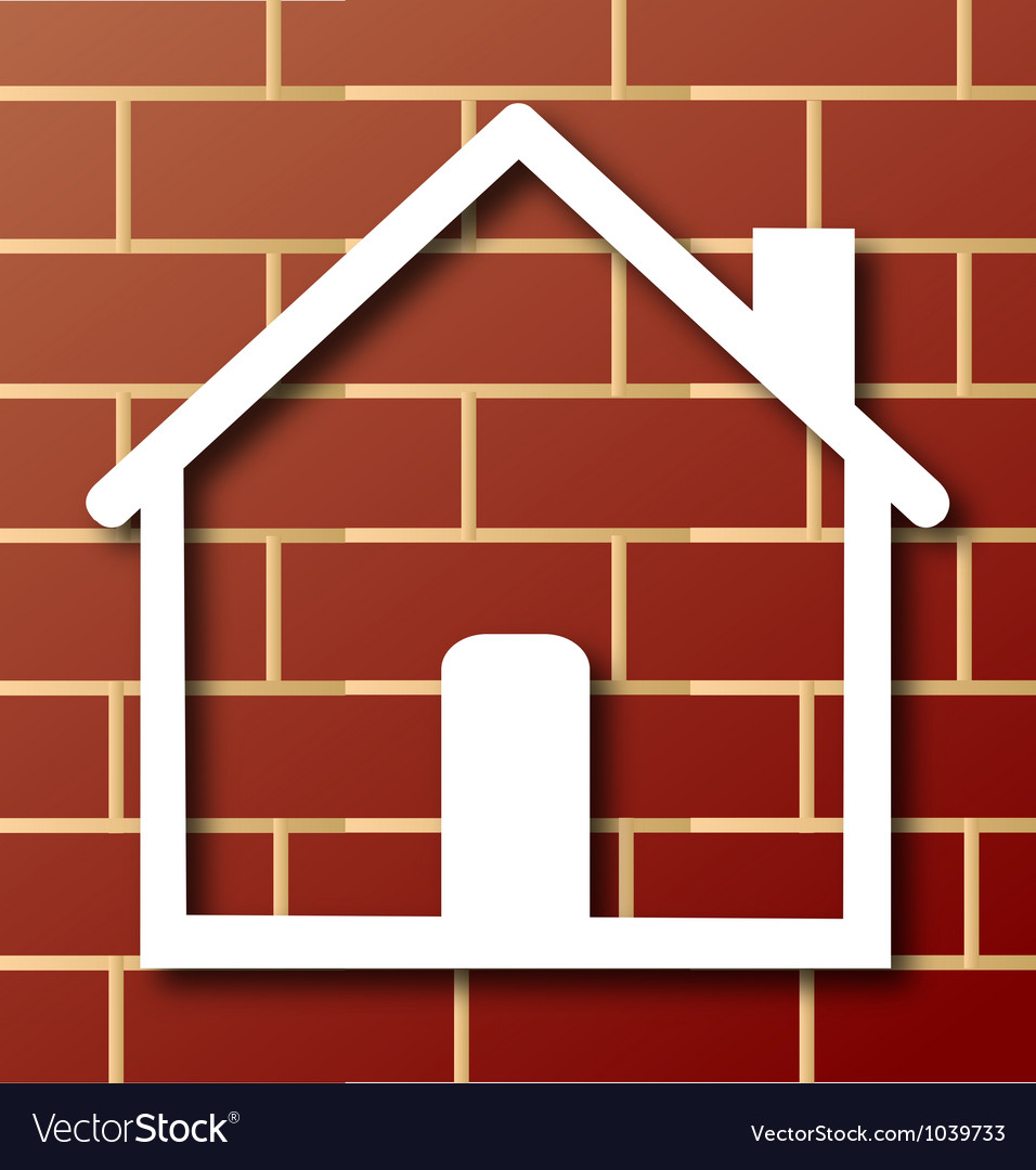 House icon with brick wall vector | Price: 1 Credit (USD $1)
