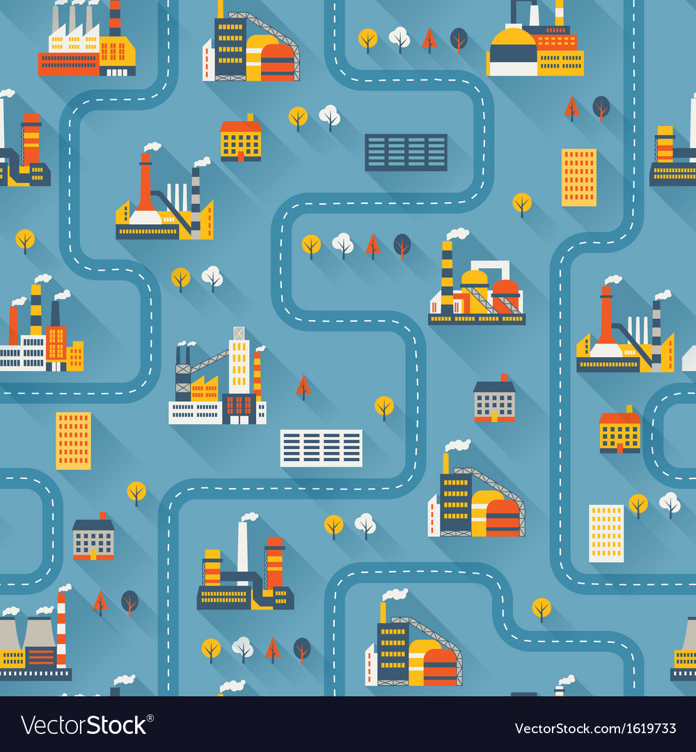 Industrial factory buildings seamless pattern vector | Price: 1 Credit (USD $1)