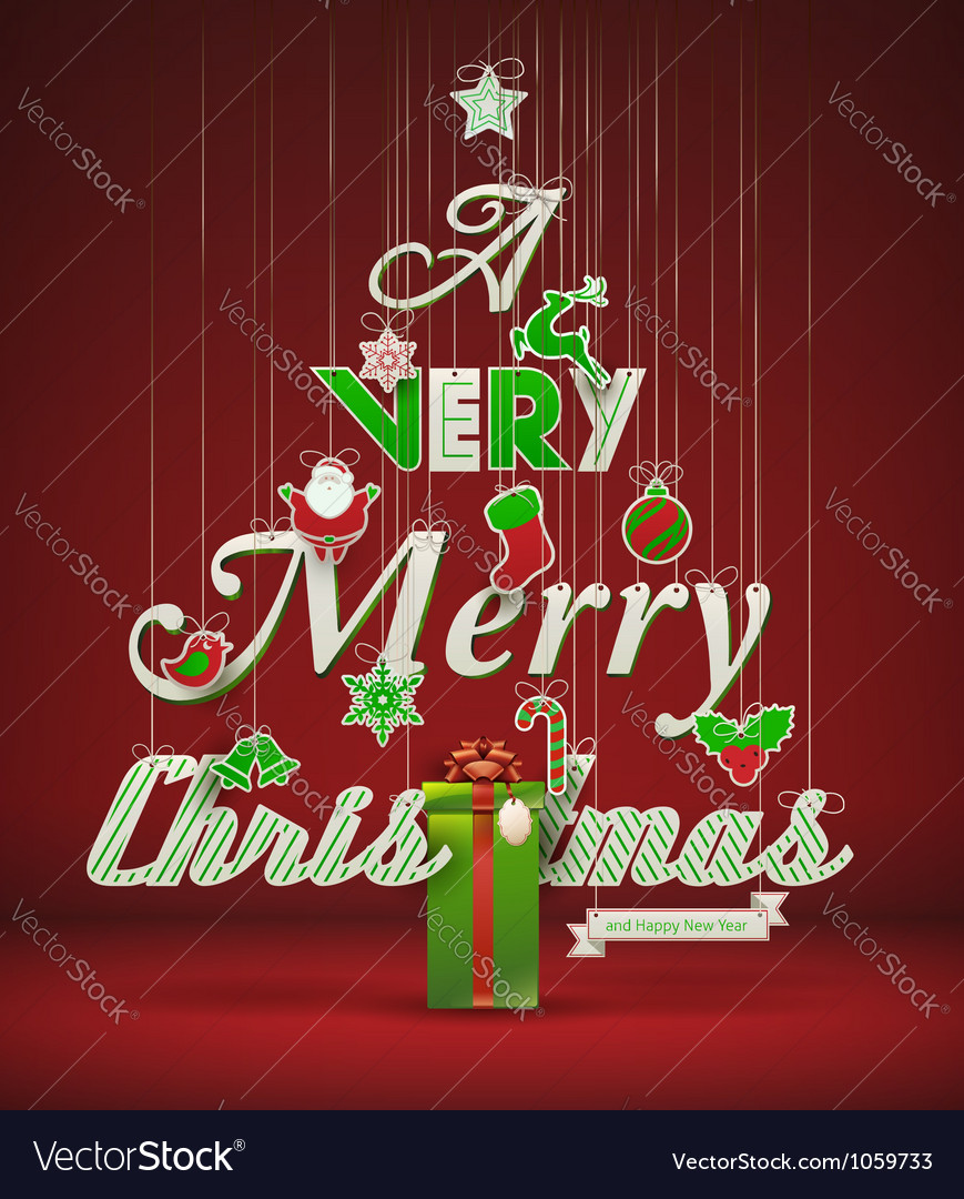 Merry christmas typography vector | Price: 3 Credit (USD $3)