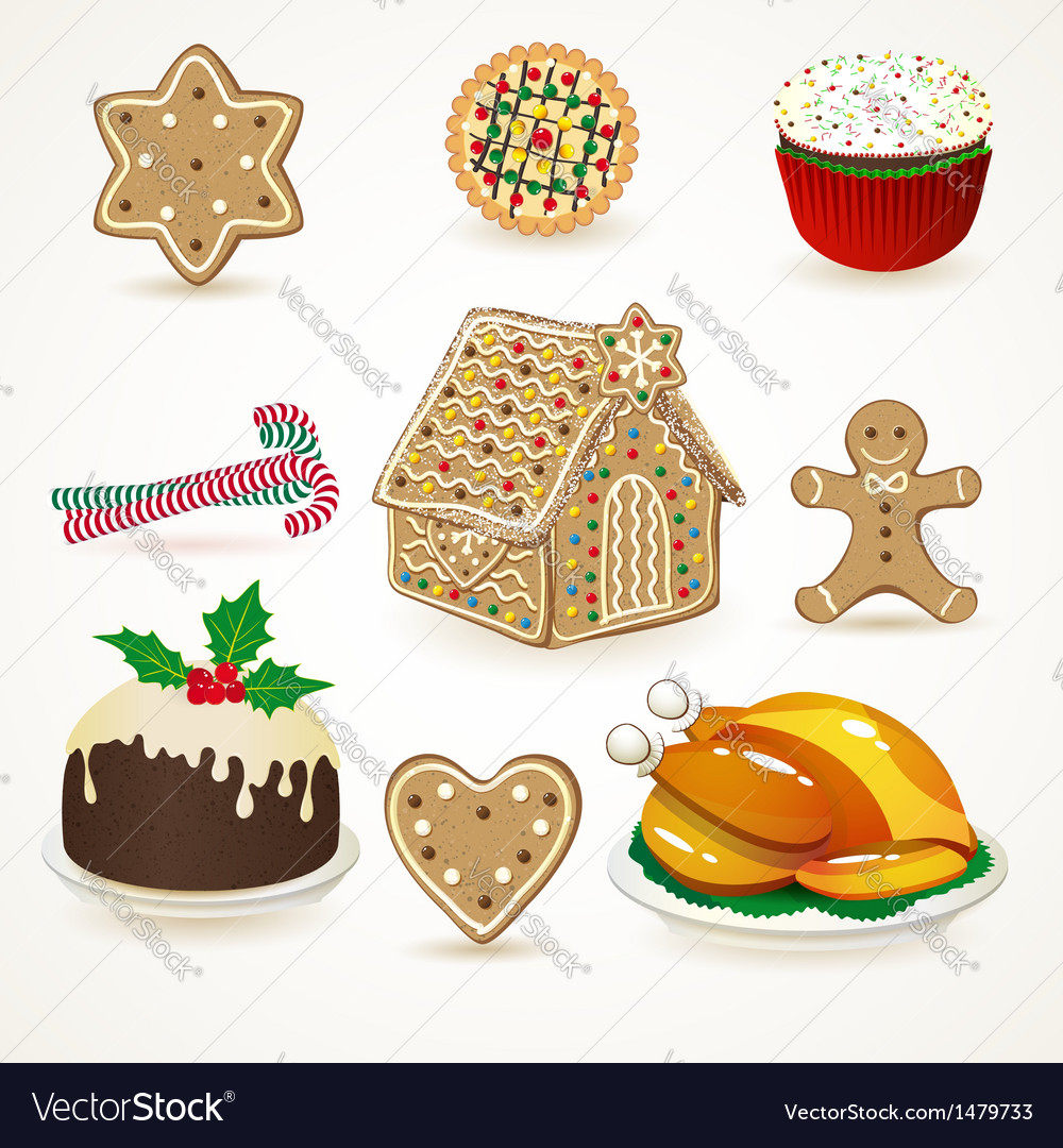 Set of tasty christmas icons vector | Price: 1 Credit (USD $1)