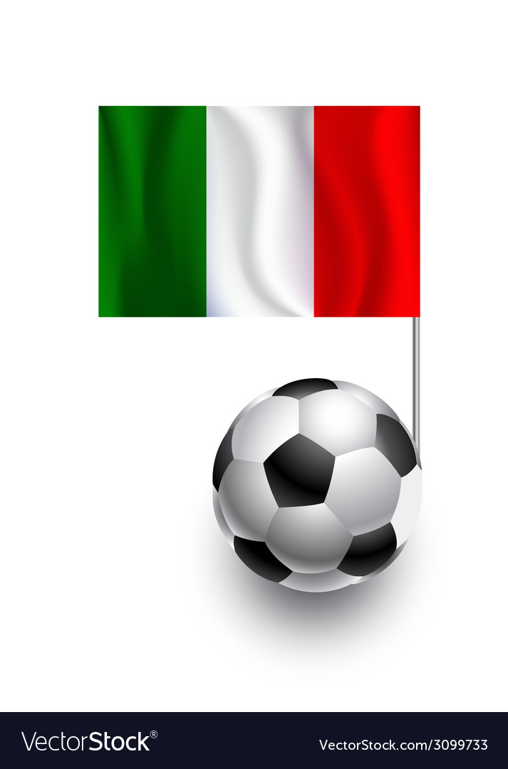 Soccer balls or footballs with flag of italy vector | Price: 1 Credit (USD $1)