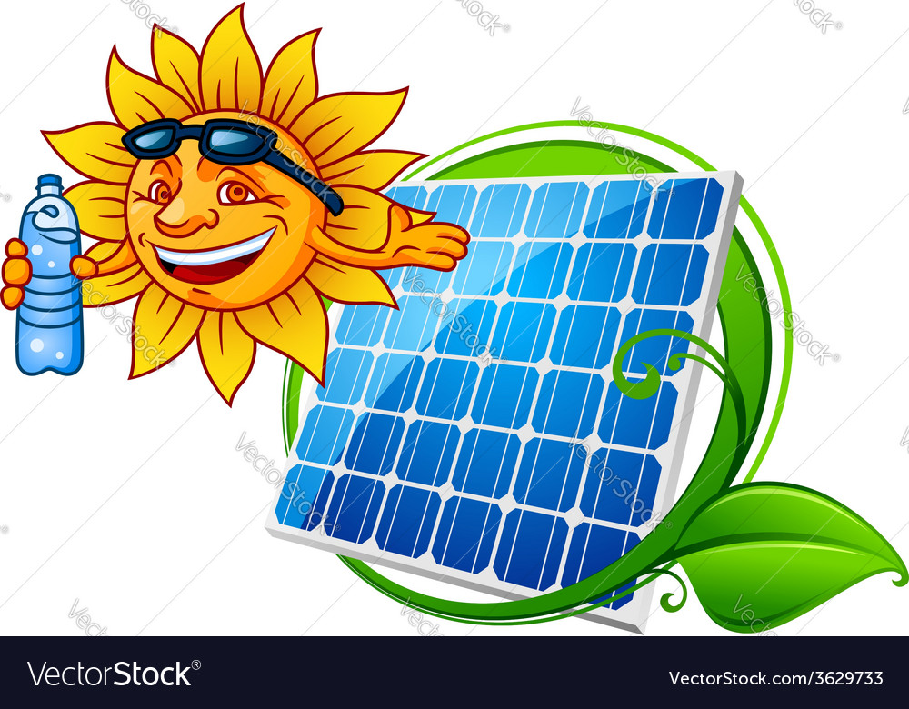 Sun and solar panel vector | Price: 1 Credit (USD $1)