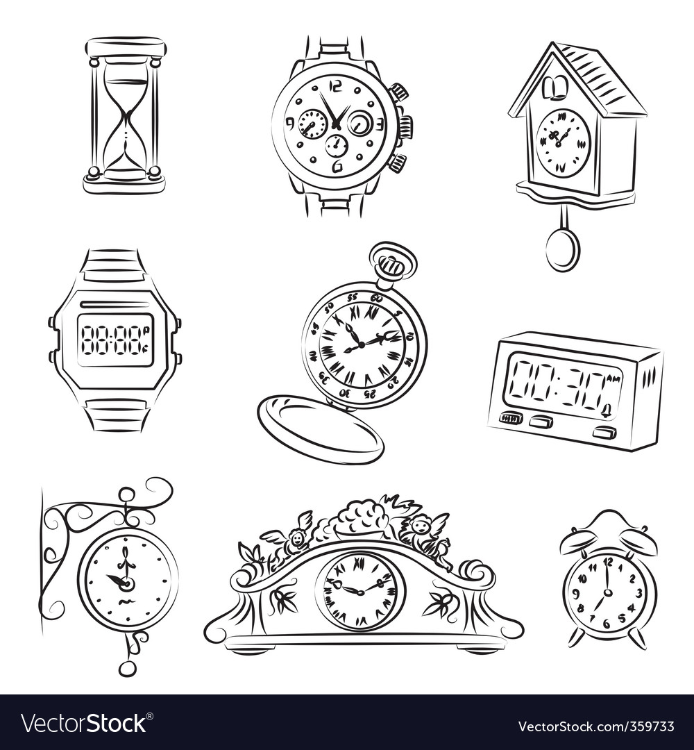 Watch and clocks vector | Price: 1 Credit (USD $1)