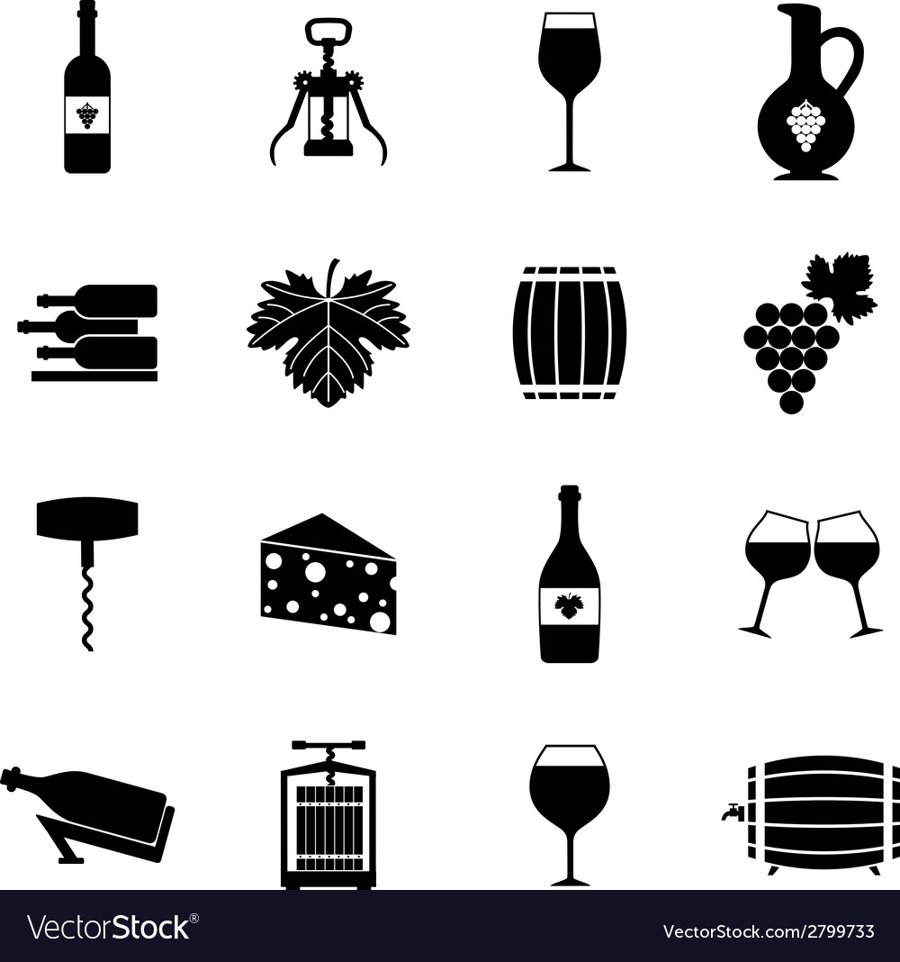 Wine icons set black vector | Price: 1 Credit (USD $1)