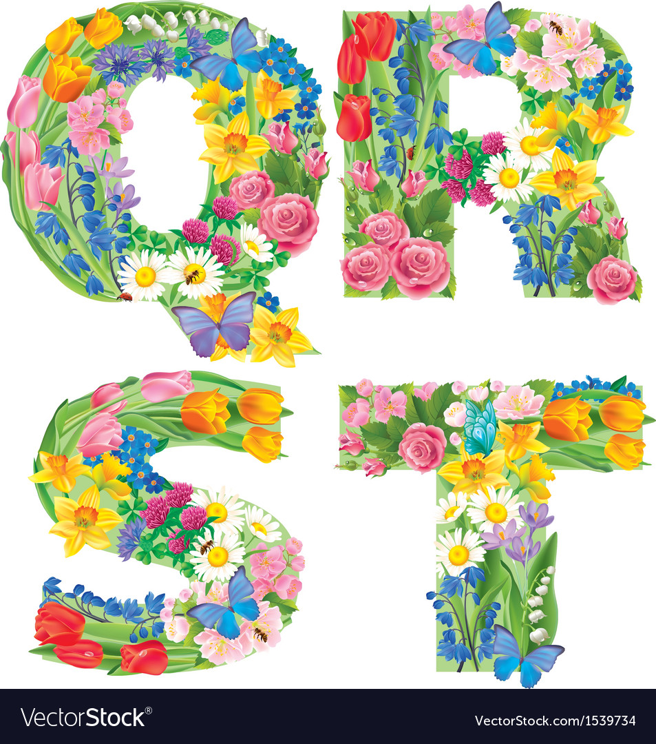 Alphabet of flowers qrst vector | Price: 3 Credit (USD $3)