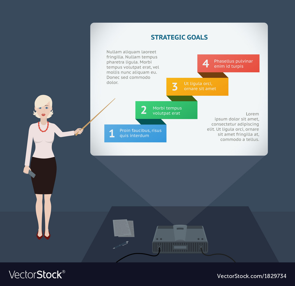 Business woman presenting annual report vector | Price: 1 Credit (USD $1)