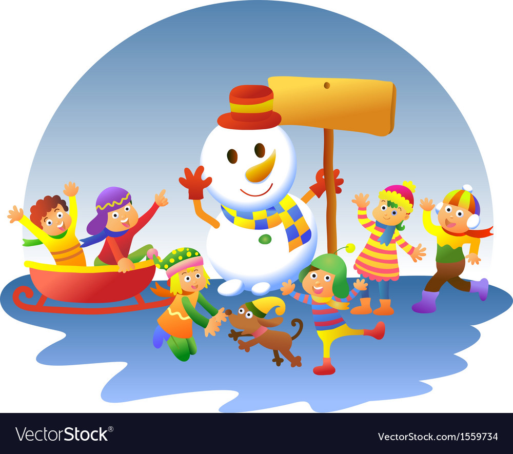 Cute kids playing winter games vector | Price: 1 Credit (USD $1)