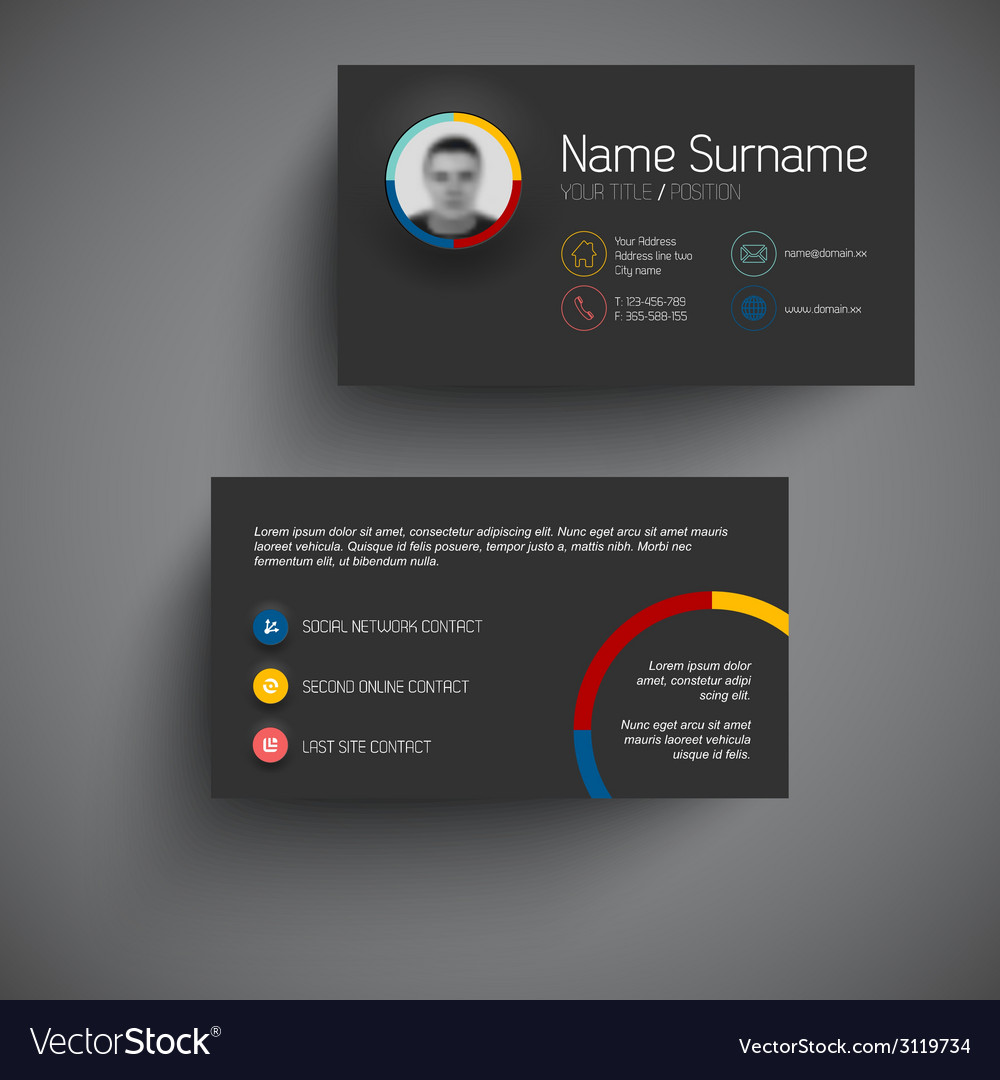 Dark modern business card template with flat user vector | Price: 1 Credit (USD $1)