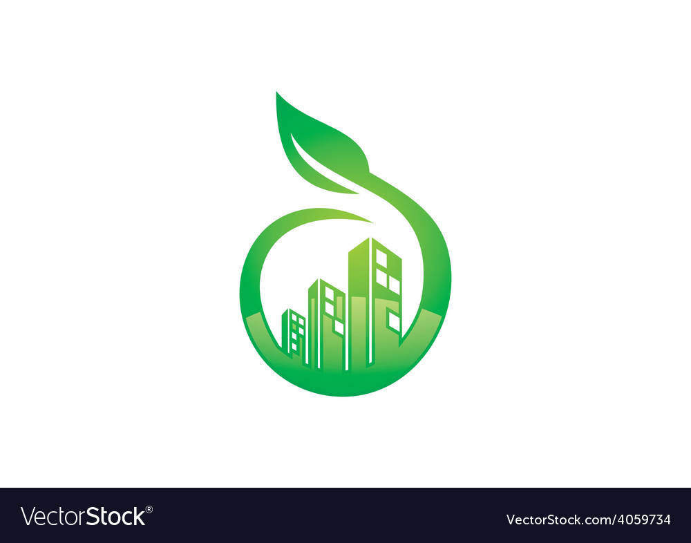 Eco friendly modern building logo vector